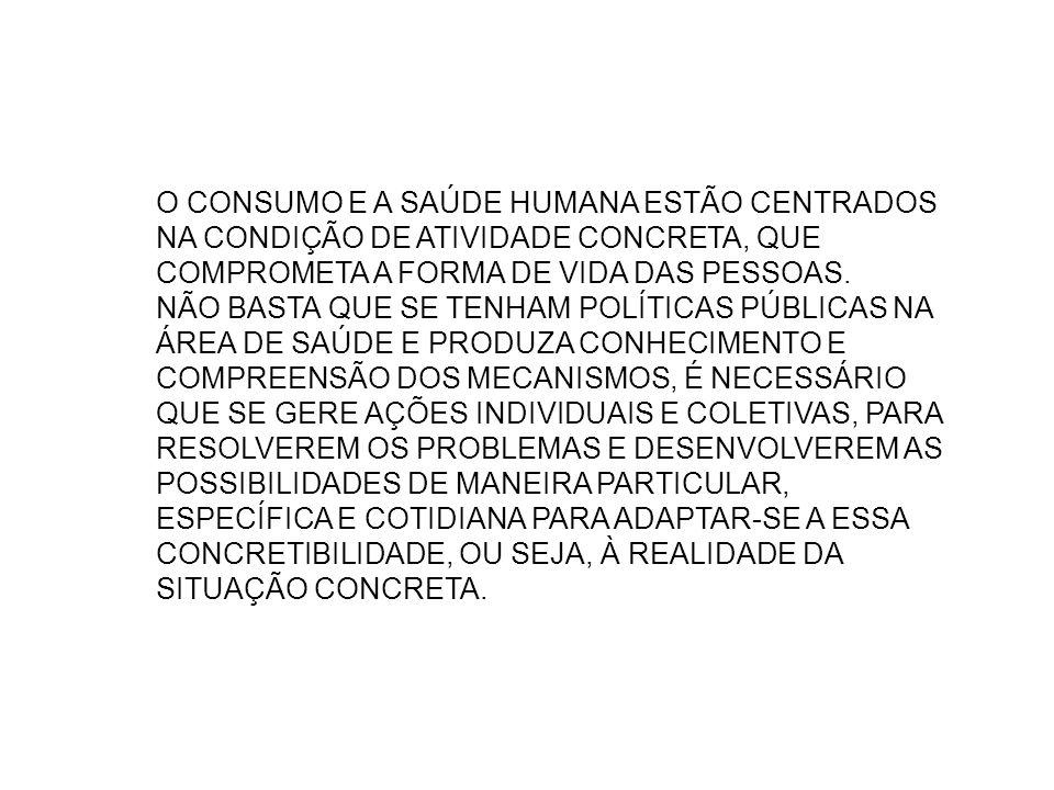 O CONSUMO E A SAÚDE HUMANA ESTÃO CENTRADOS NA CONDIÇÃO DE ATIVIDADE CONCRETA, QUE COMPROMETA A FORMA DE VIDA DAS PESSOAS.
