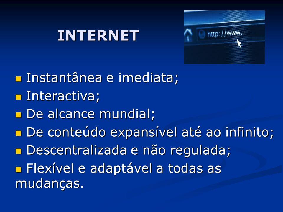 INTERNET Instantânea e imediata; Interactiva; De alcance mundial;