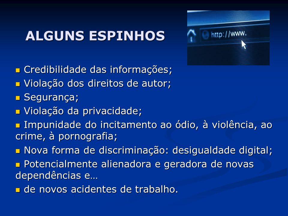 ALGUNS ESPINHOS Credibilidade das informações;
