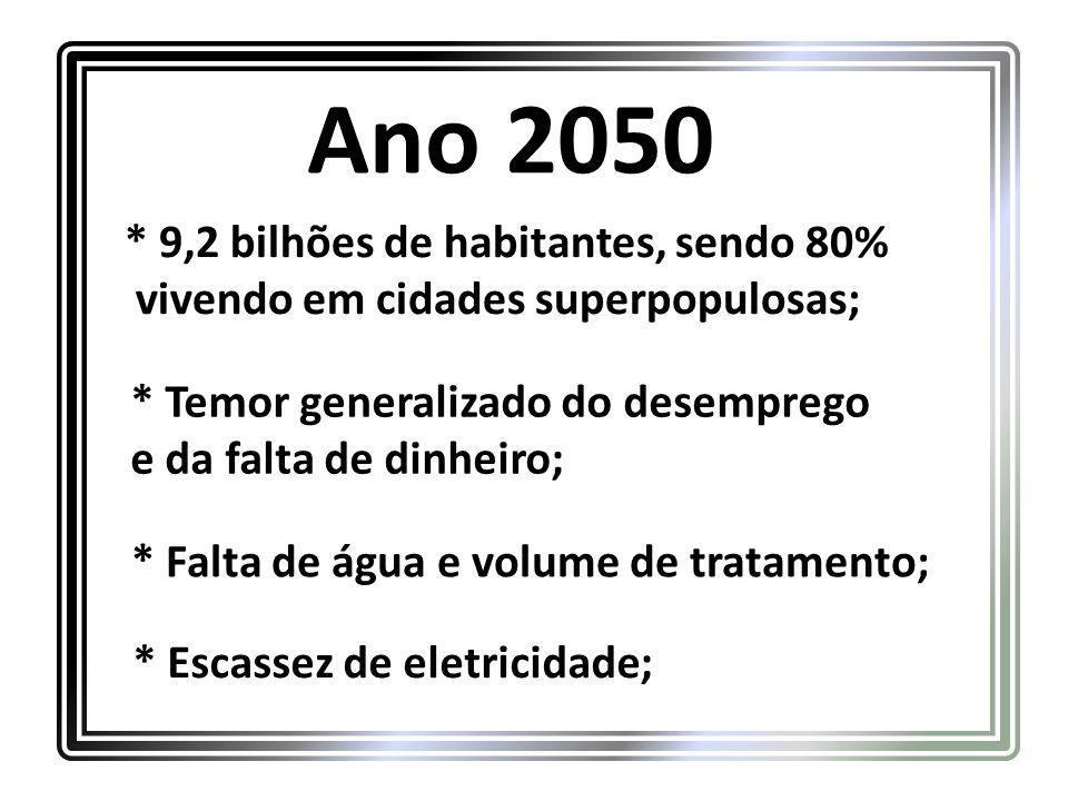 Ano 2050 * 9,2 bilhões de habitantes, sendo 80%