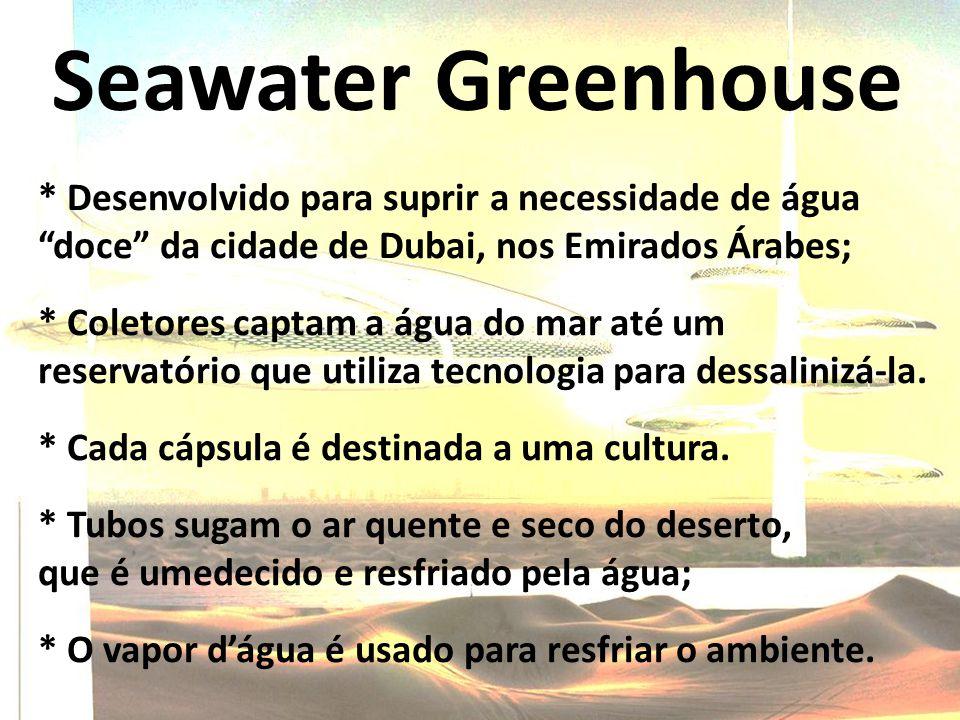 Seawater Greenhouse * Desenvolvido para suprir a necessidade de água