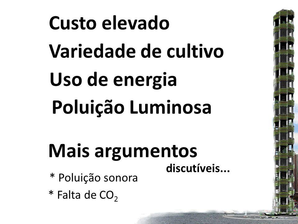 Custo elevado Variedade de cultivo Uso de energia Poluição Luminosa