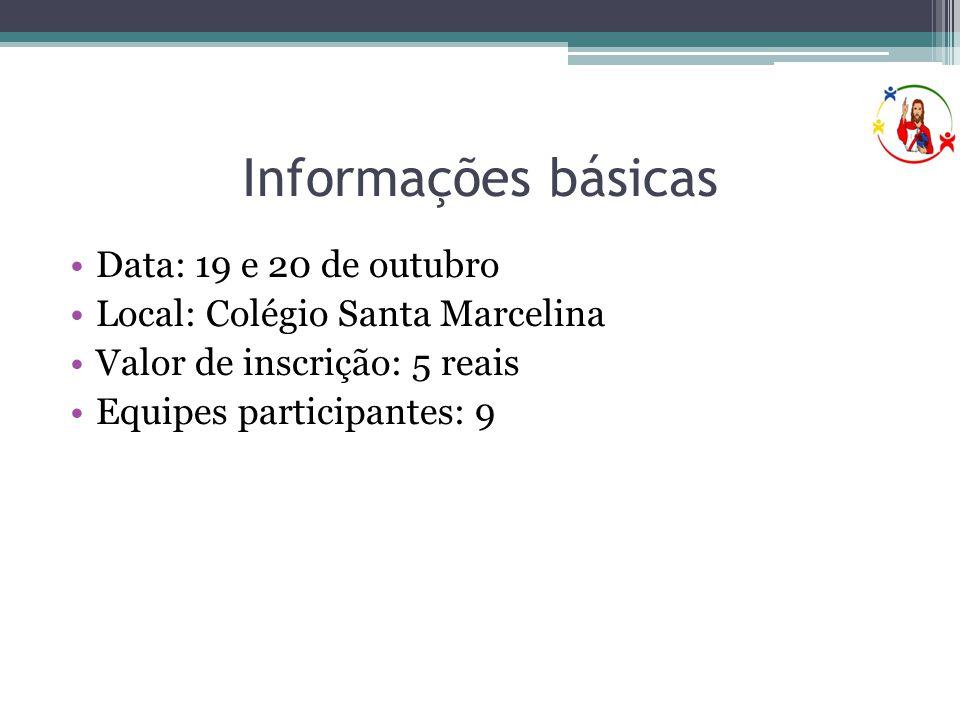 Informações básicas Data: 19 e 20 de outubro