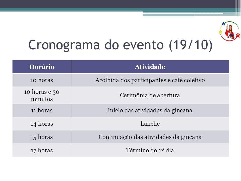 Cronograma do evento (19/10)