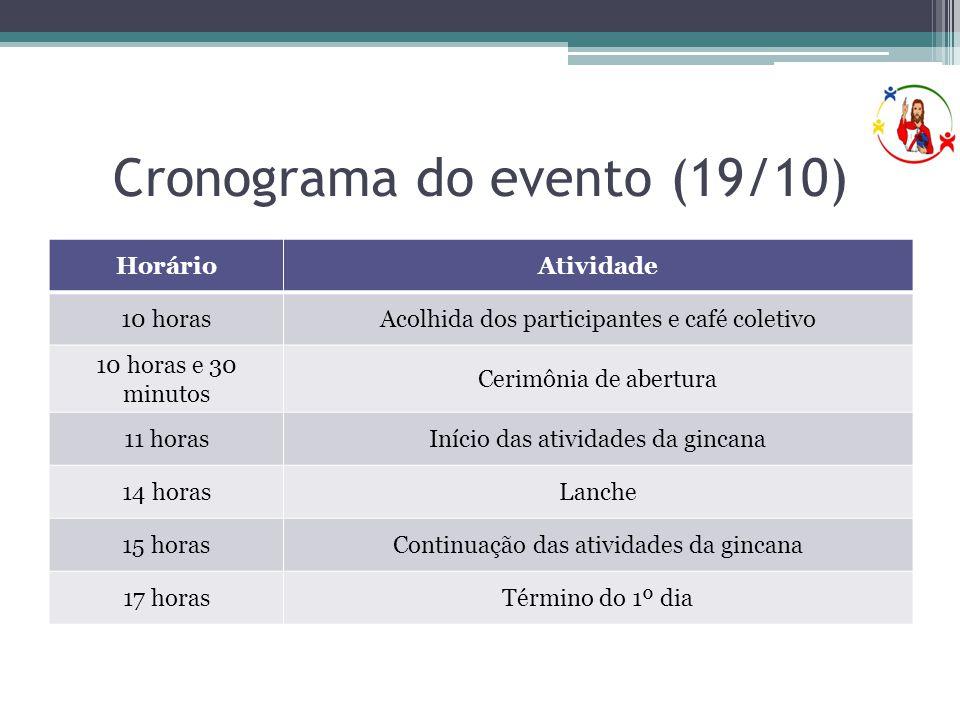 Cronograma do evento (19/10)