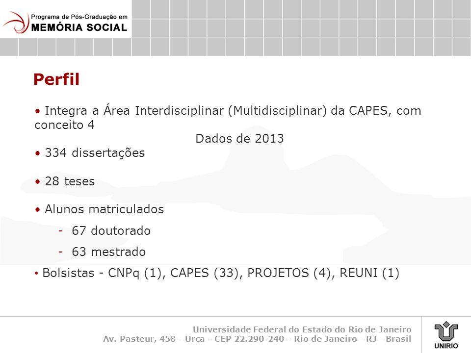Perfil Integra a Área Interdisciplinar (Multidisciplinar) da CAPES, com conceito 4. Dados de 2013.