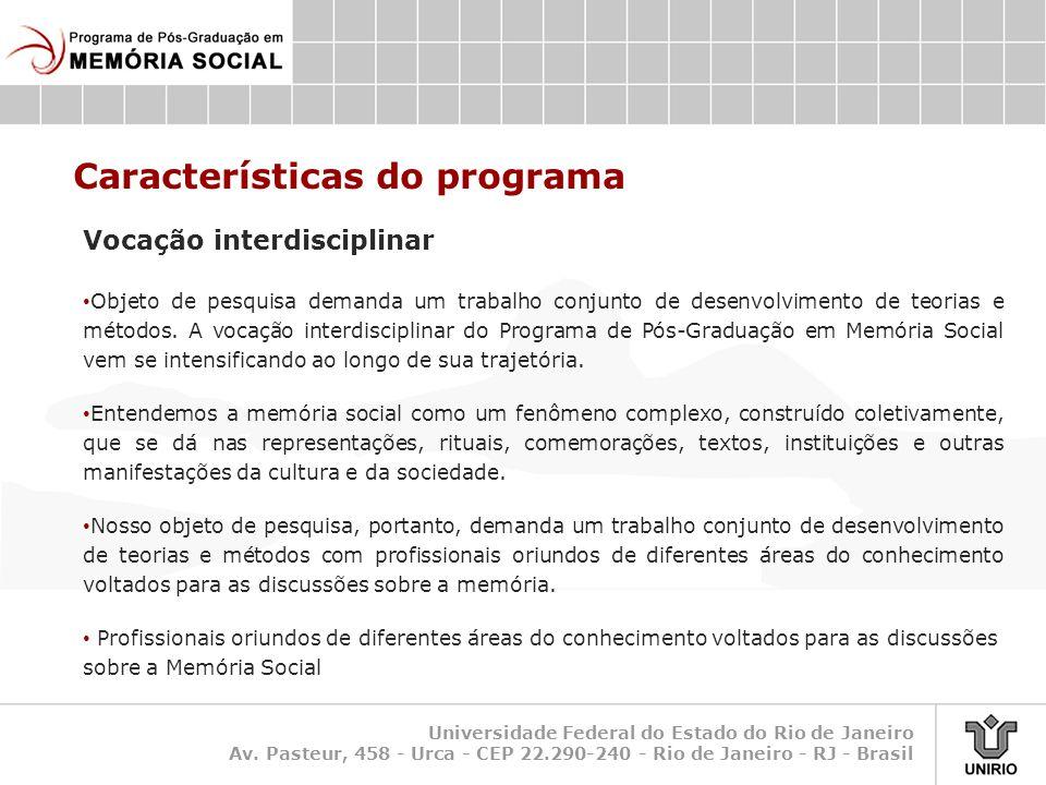 Características do programa