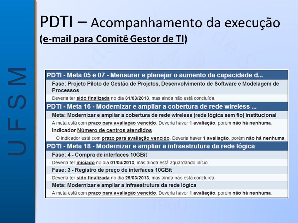 PDTI – Acompanhamento da execução (e-mail para Comitê Gestor de TI)