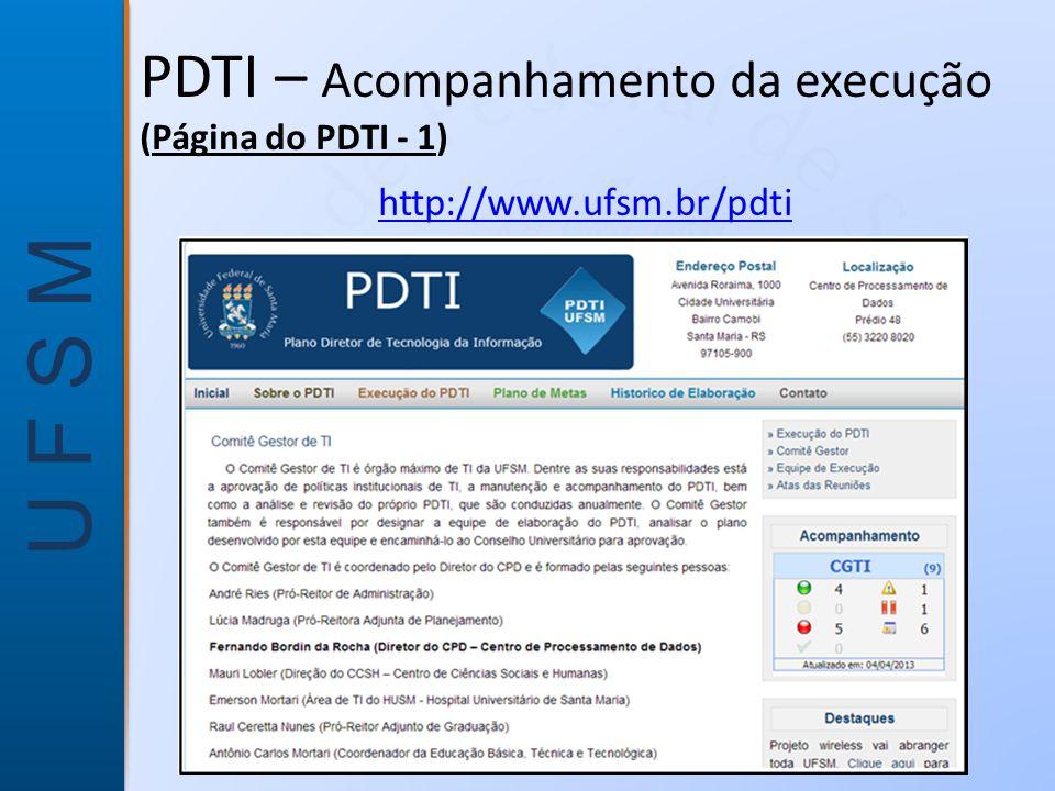 PDTI – Acompanhamento da execução (Página do PDTI - 1)