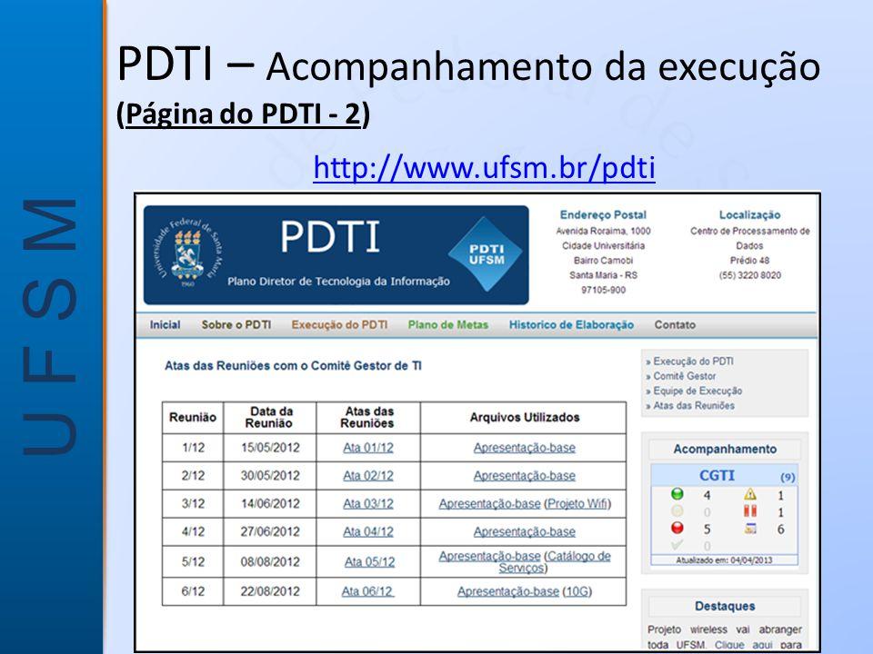 PDTI – Acompanhamento da execução (Página do PDTI - 2)