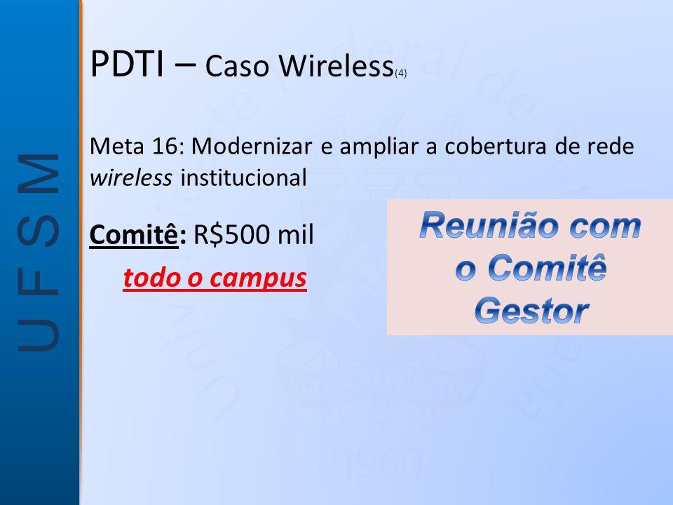 PDTI – Caso Wireless(4) Reunião com o Comitê Gestor Comitê: R$500 mil