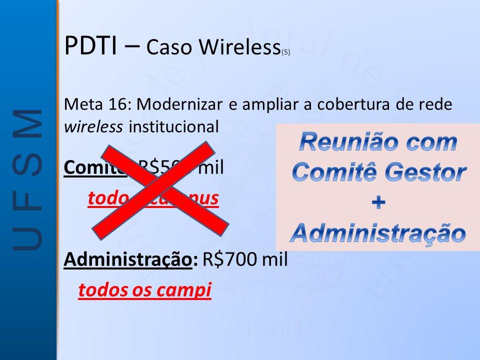 PDTI – Caso Wireless(5) Reunião com Comitê Gestor + Administração