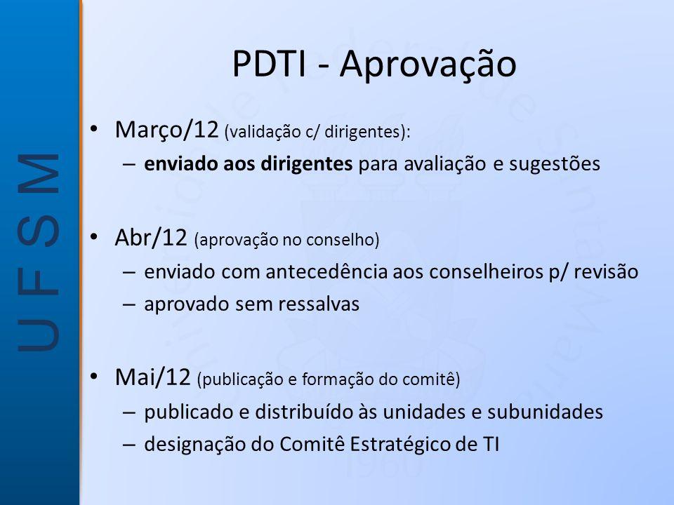 PDTI - Aprovação Março/12 (validação c/ dirigentes):