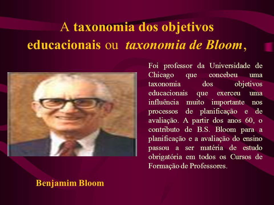 A taxonomia dos objetivos educacionais ou taxonomia de Bloom,