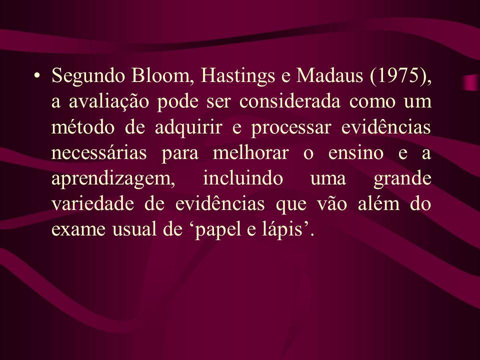 Segundo Bloom, Hastings e Madaus (1975), a avaliação pode ser considerada como um método de adquirir e processar evidências necessárias para melhorar o ensino e a aprendizagem, incluindo uma grande variedade de evidências que vão além do exame usual de 'papel e lápis'.