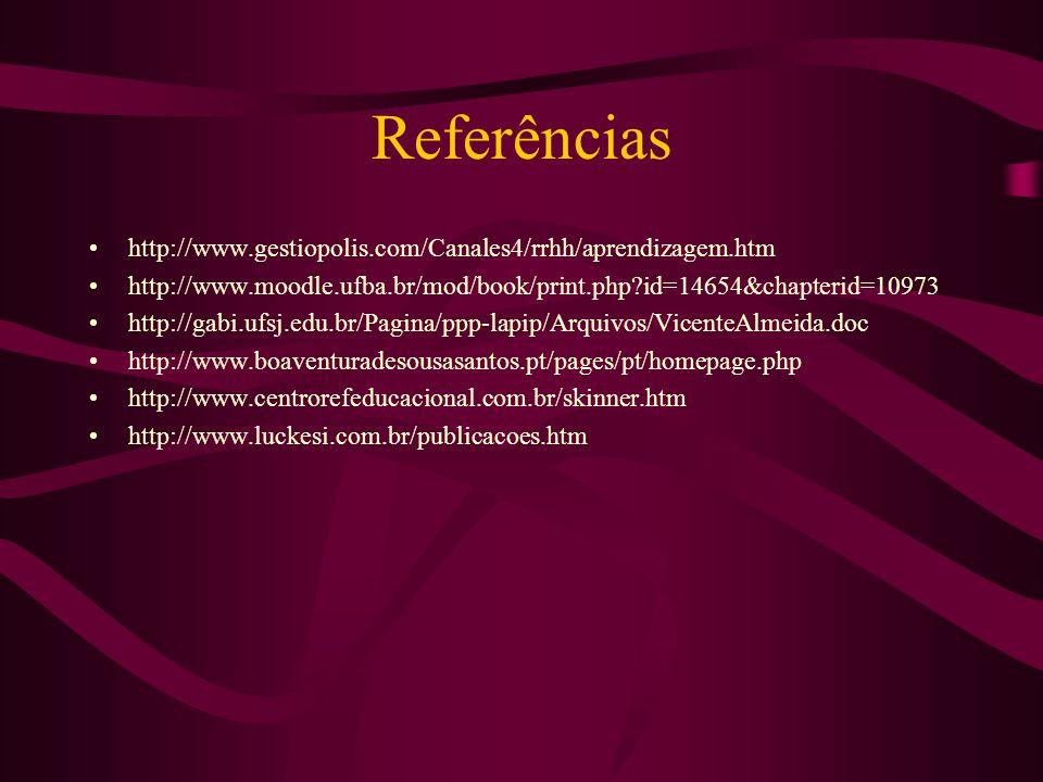 Referências http://www.gestiopolis.com/Canales4/rrhh/aprendizagem.htm