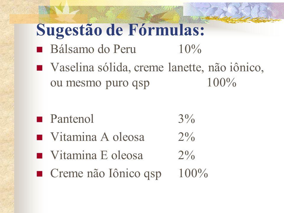 Sugestão de Fórmulas: Bálsamo do Peru 10%