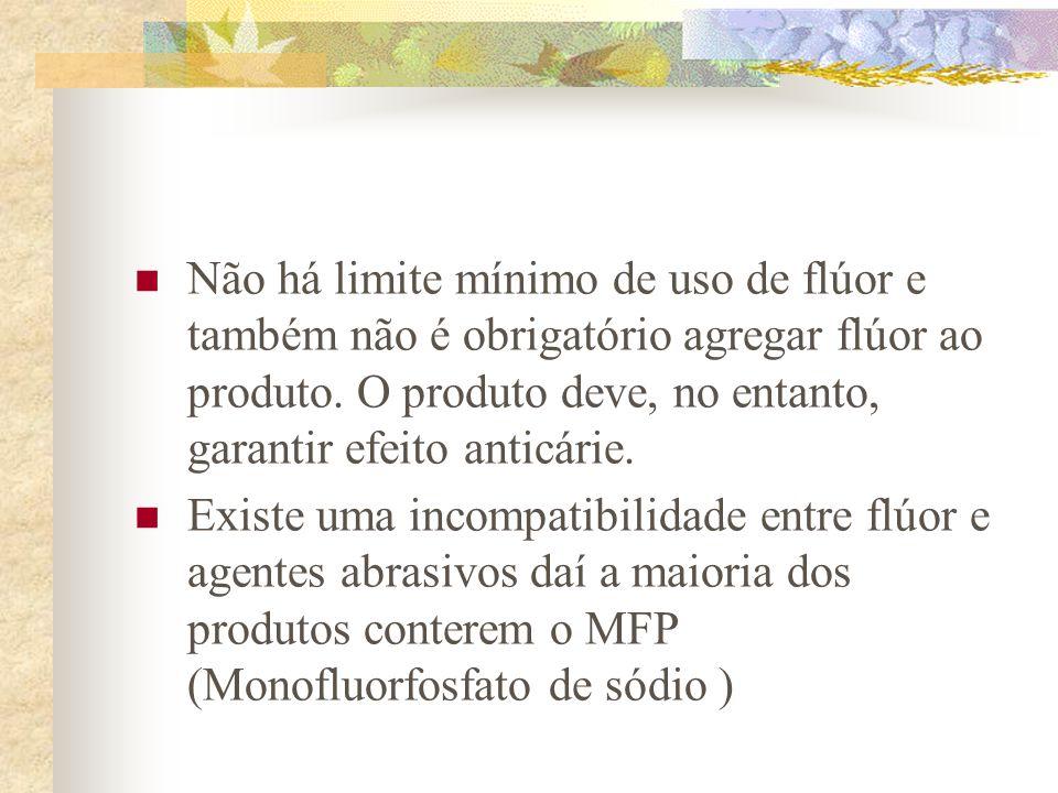Não há limite mínimo de uso de flúor e também não é obrigatório agregar flúor ao produto. O produto deve, no entanto, garantir efeito anticárie.