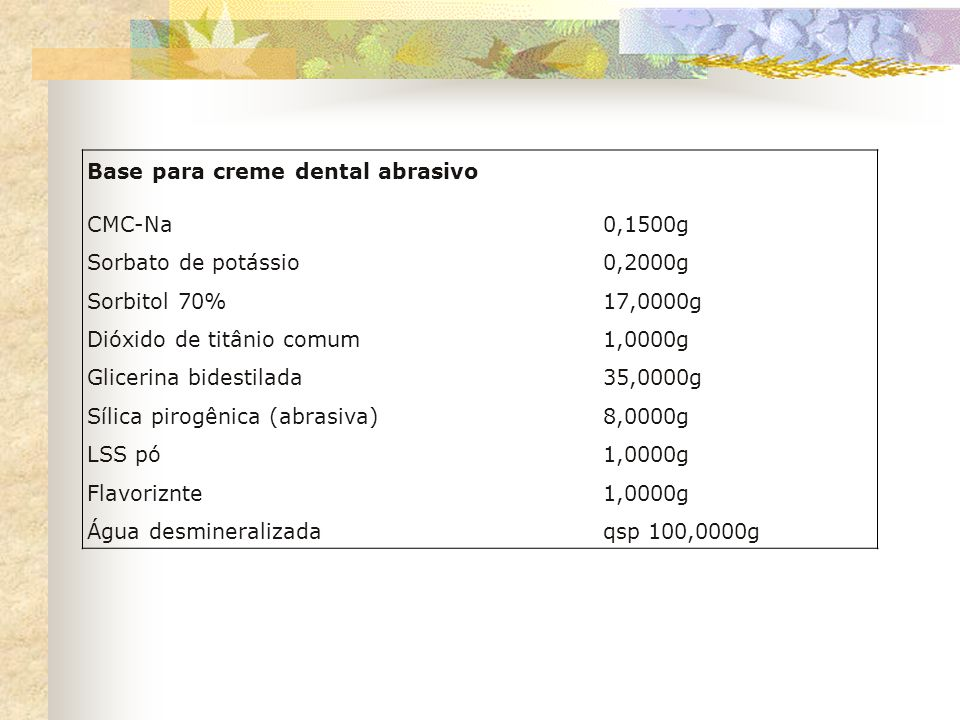 Base para creme dental abrasivo