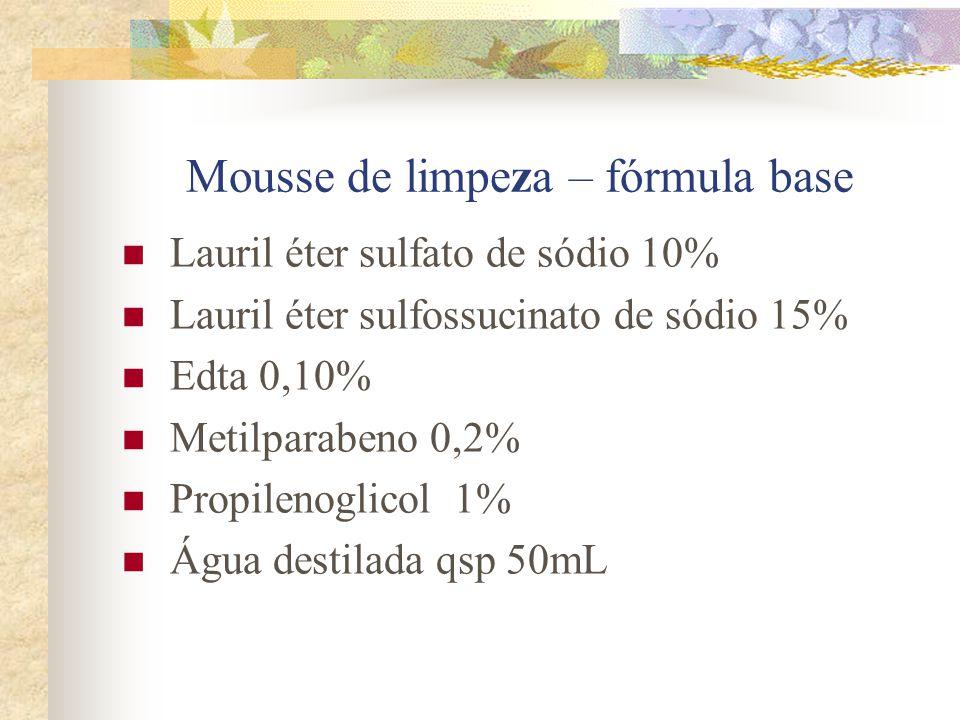 Mousse de limpeza – fórmula base