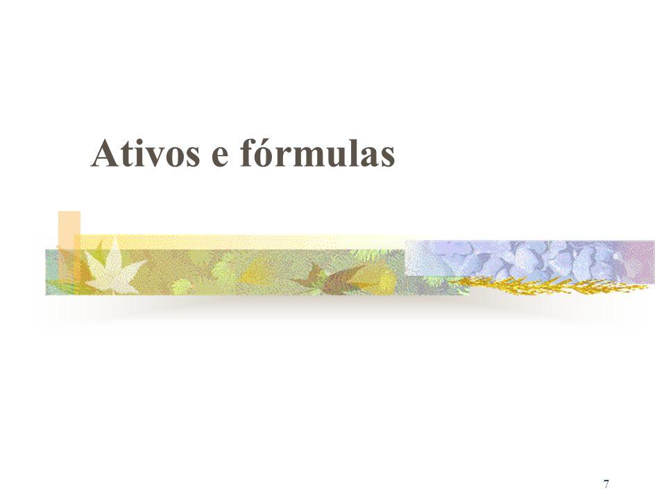 Ativos e fórmulas