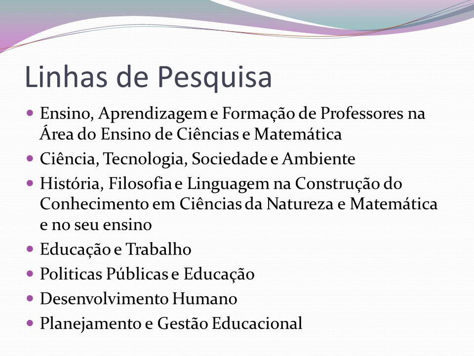 Linhas de Pesquisa Ensino, Aprendizagem e Formação de Professores na Área do Ensino de Ciências e Matemática.
