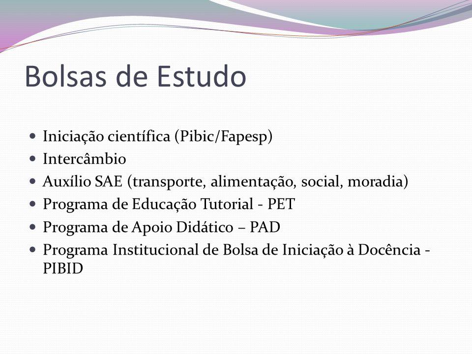 Bolsas de Estudo Iniciação científica (Pibic/Fapesp) Intercâmbio