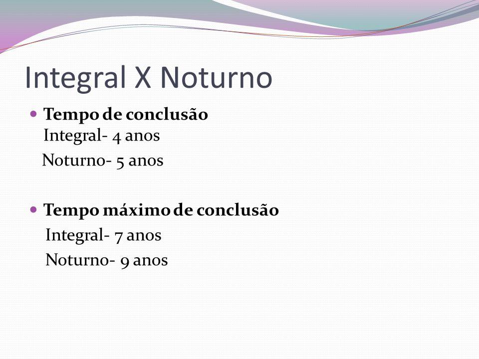Integral X Noturno Tempo de conclusão Integral- 4 anos Noturno- 5 anos
