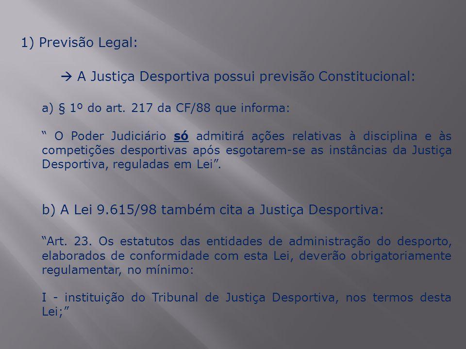  A Justiça Desportiva possui previsão Constitucional: