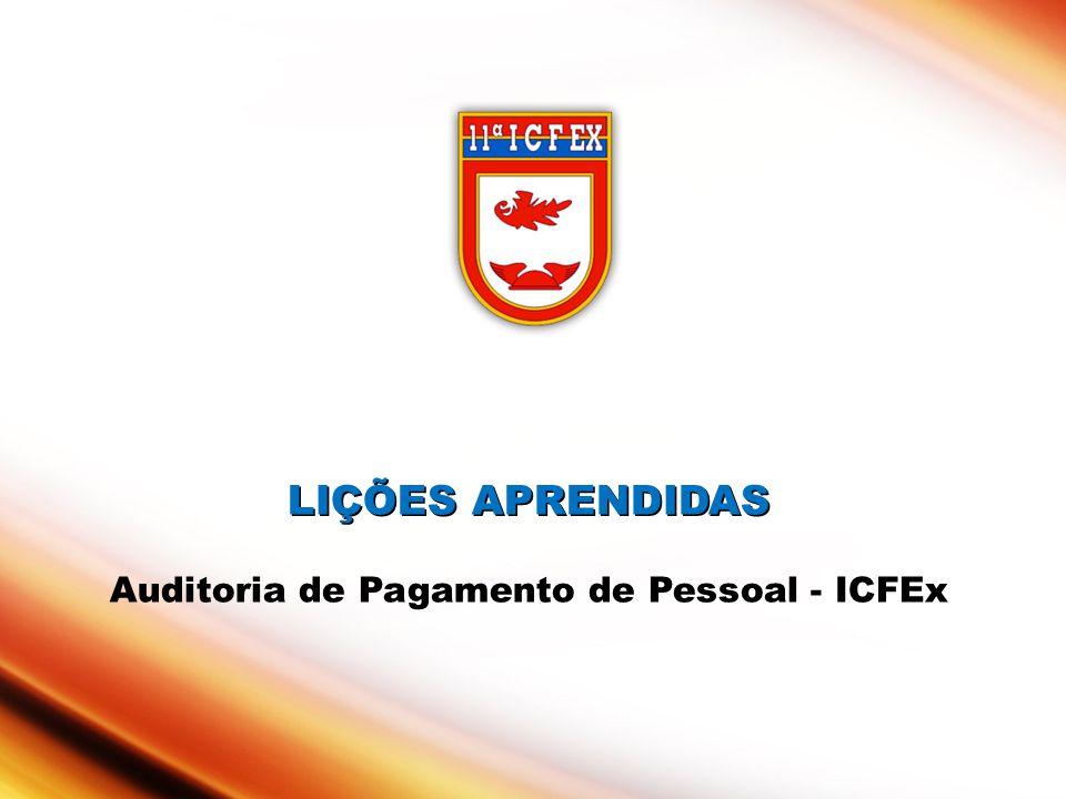 LIÇÕES APRENDIDAS Auditoria de Pagamento de Pessoal - ICFEx