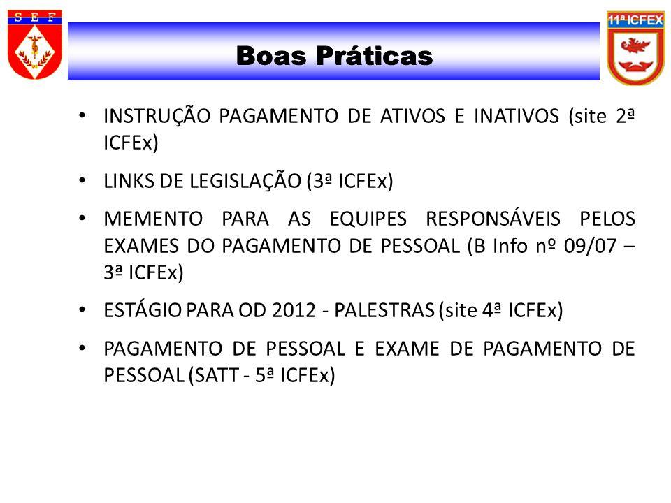 Boas Práticas INSTRUÇÃO PAGAMENTO DE ATIVOS E INATIVOS (site 2ª ICFEx)