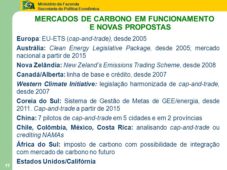 MERCADOS DE CARBONO EM FUNCIONAMENTO E NOVAS PROPOSTAS