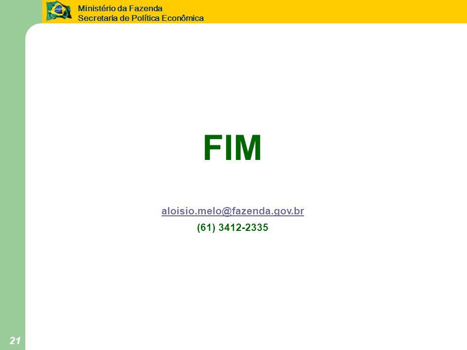 FIM aloisio.melo@fazenda.gov.br (61) 3412-2335
