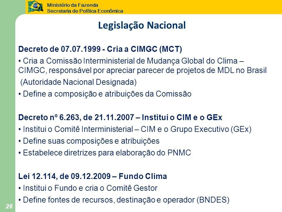 Legislação Nacional Decreto de 07.07.1999 - Cria a CIMGC (MCT)
