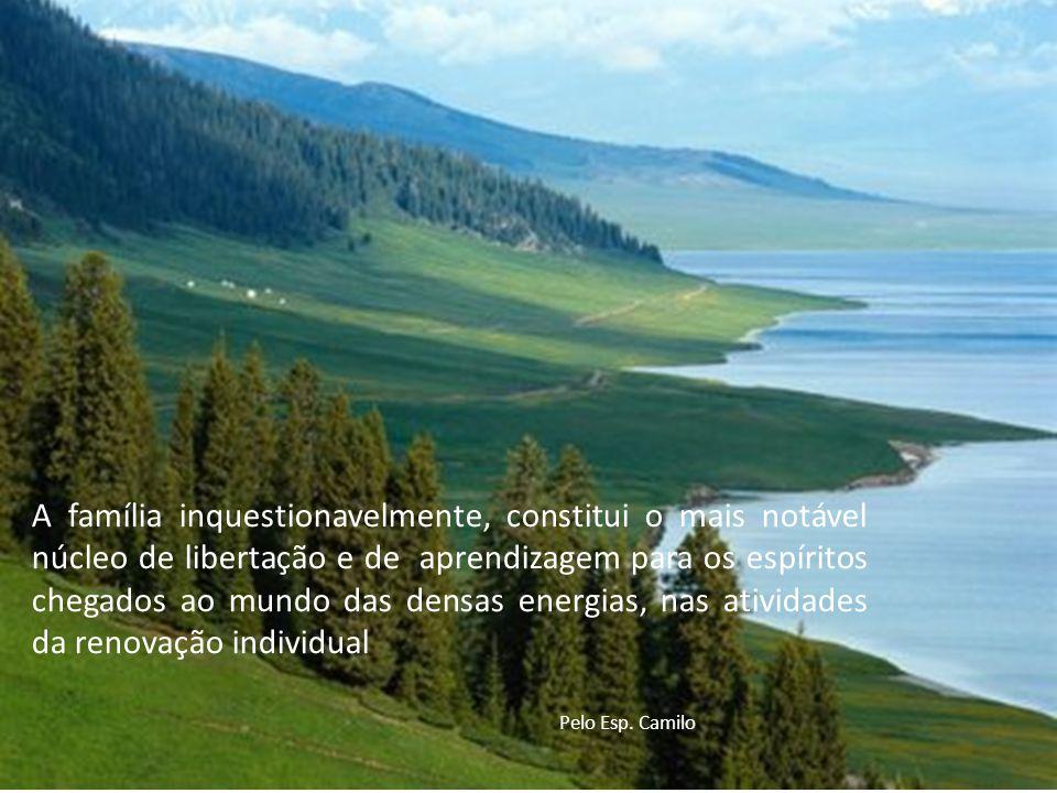 A família inquestionavelmente, constitui o mais notável núcleo de libertação e de aprendizagem para os espíritos chegados ao mundo das densas energias, nas atividades da renovação individual