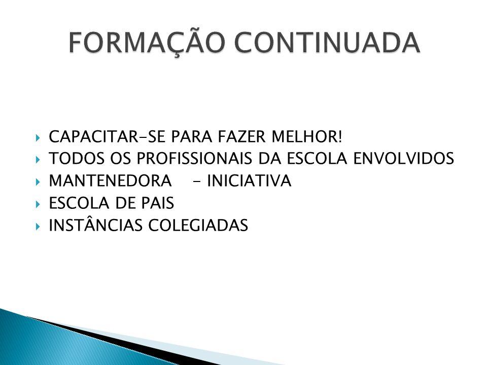 FORMAÇÃO CONTINUADA CAPACITAR-SE PARA FAZER MELHOR!