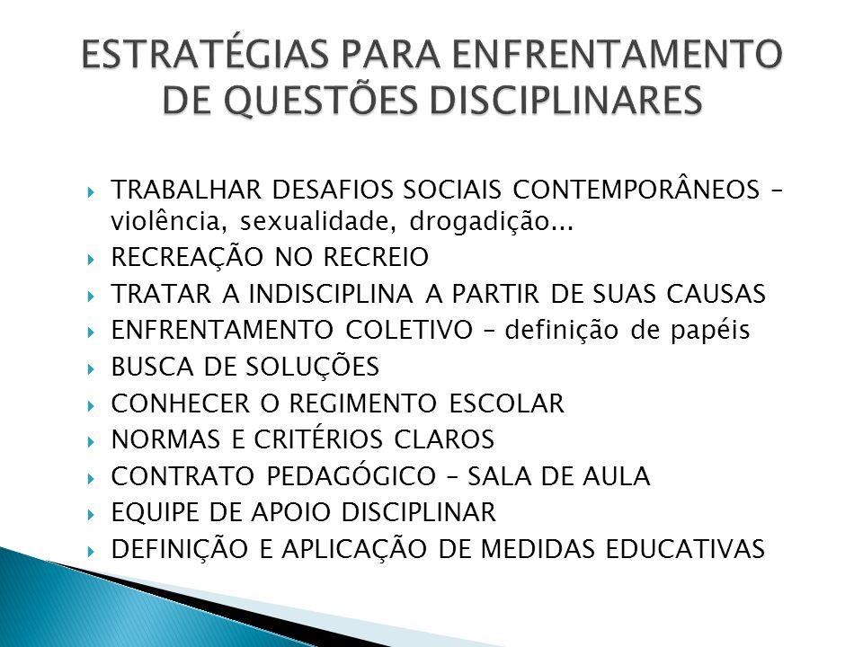 ESTRATÉGIAS PARA ENFRENTAMENTO DE QUESTÕES DISCIPLINARES