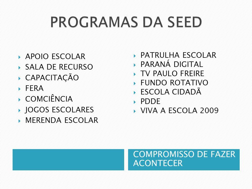 PROGRAMAS DA SEED COMPROMISSO DE FAZER ACONTECER APOIO ESCOLAR