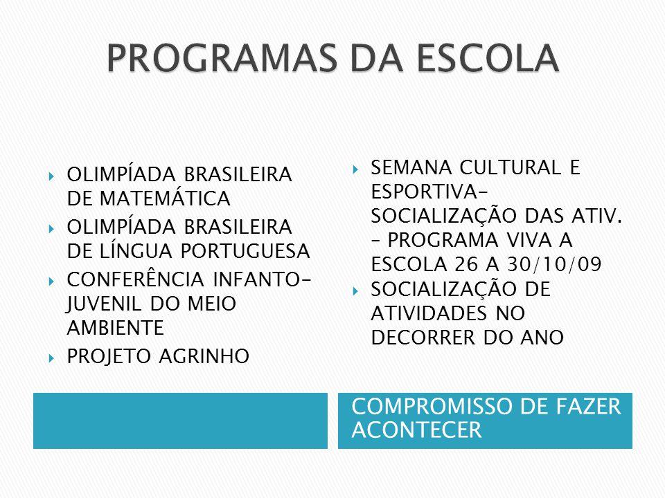 PROGRAMAS DA ESCOLA COMPROMISSO DE FAZER ACONTECER