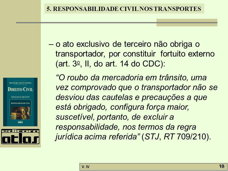– o ato exclusivo de terceiro não obriga o transportador, por constituir fortuito externo (art. 3o, II, do art. 14 do CDC):