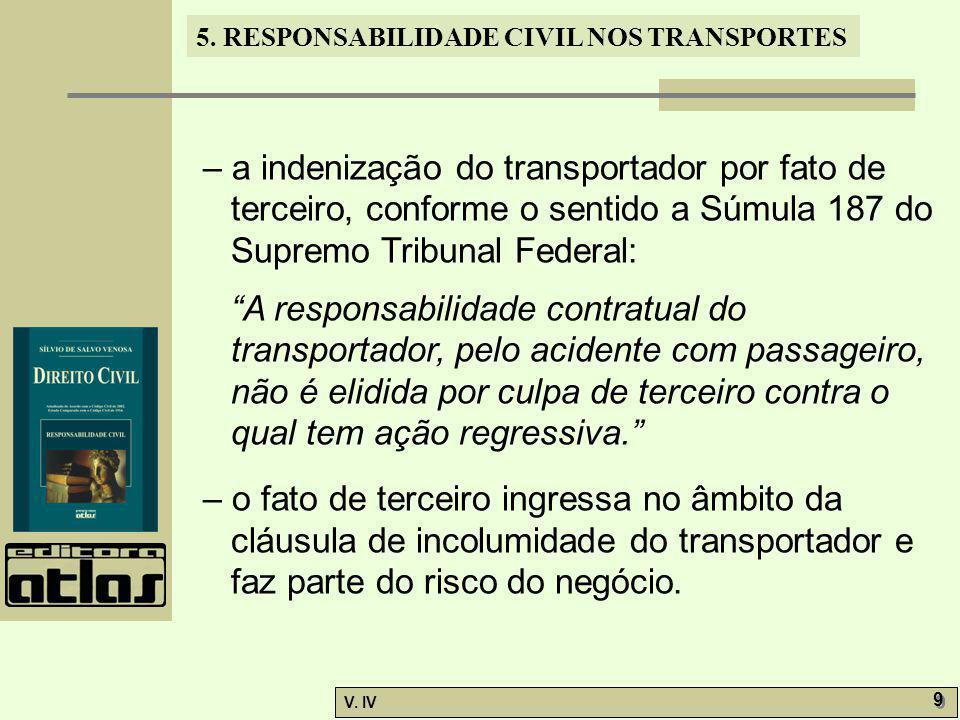 – a indenização do transportador por fato de terceiro, conforme o sentido a Súmula 187 do Supremo Tribunal Federal: