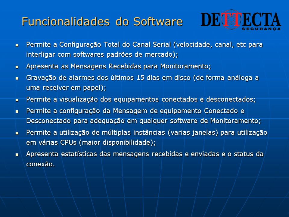 Funcionalidades do Software