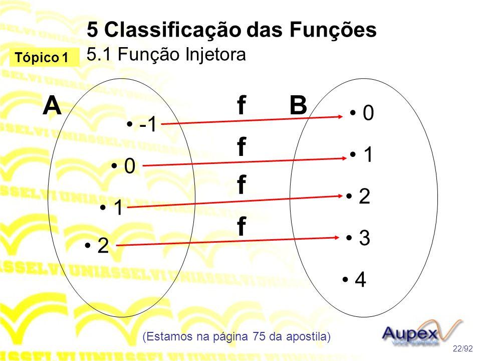 5 Classificação das Funções 5.1 Função Injetora