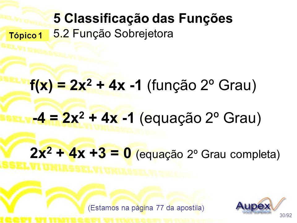 5 Classificação das Funções 5.2 Função Sobrejetora
