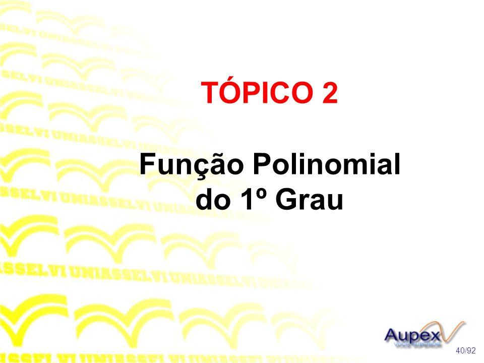 TÓPICO 2 Função Polinomial do 1º Grau