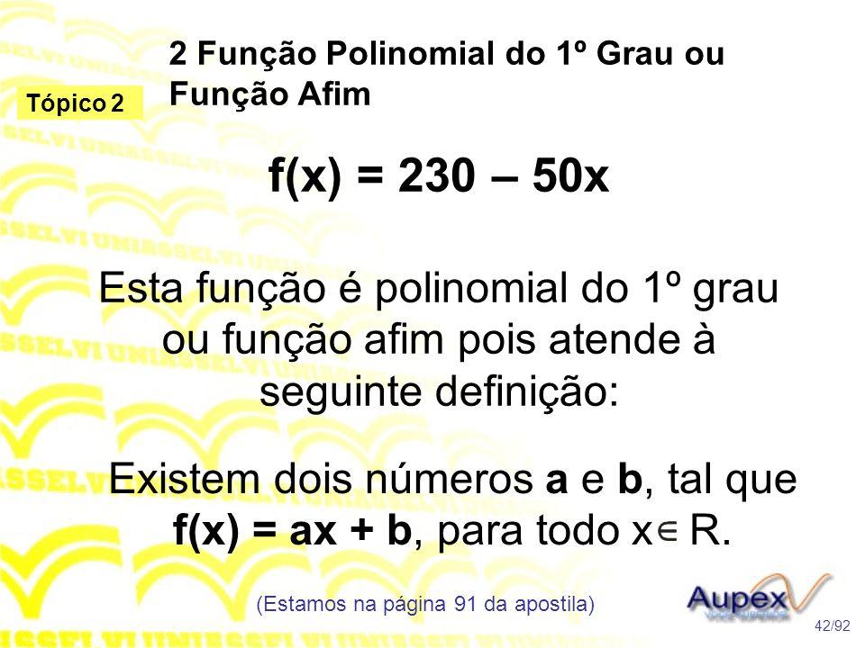 2 Função Polinomial do 1º Grau ou Função Afim