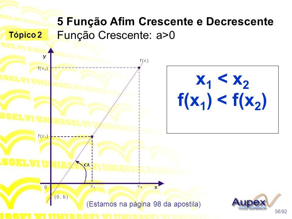 5 Função Afim Crescente e Decrescente Função Crescente: a>0