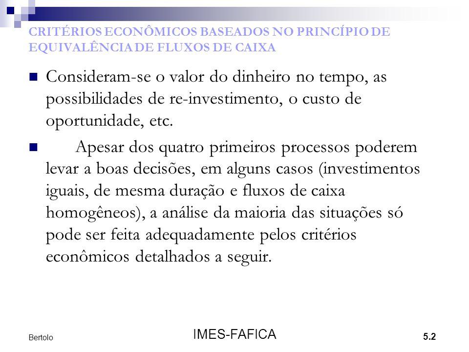 CRITÉRIOS ECONÔMICOS BASEADOS NO PRINCÍPIO DE EQUIVALÊNCIA DE FLUXOS DE CAIXA