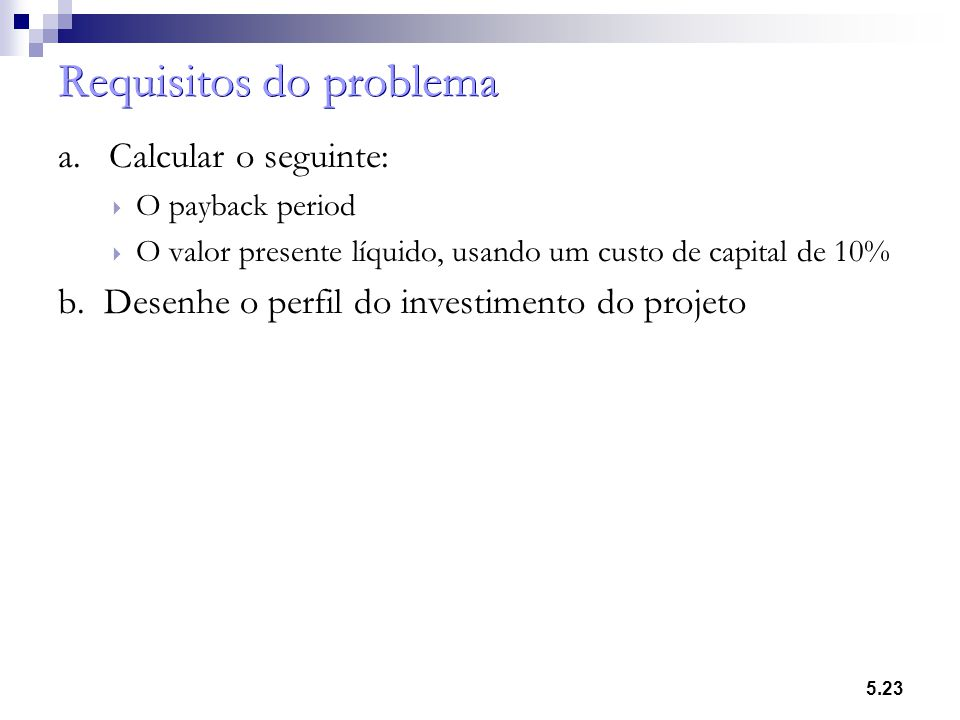 Requisitos do problema
