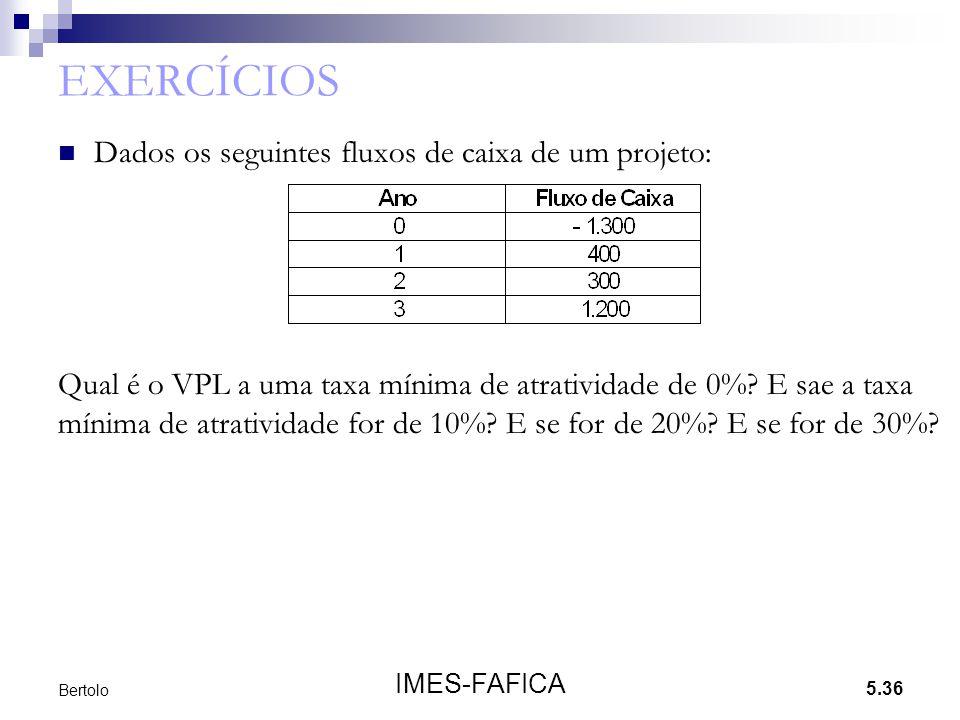 EXERCÍCIOS Dados os seguintes fluxos de caixa de um projeto: